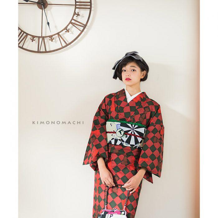 きもの町オリジナル着物福袋15:赤×黒緑色 チェス