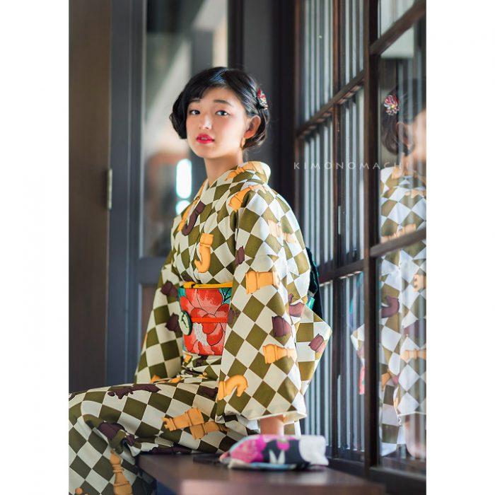 きもの町オリジナル着物福袋16:白×モスグリーン チェス
