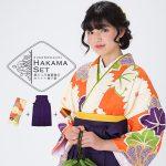 卒業式袴セット「オレンジ 菊花、楓」